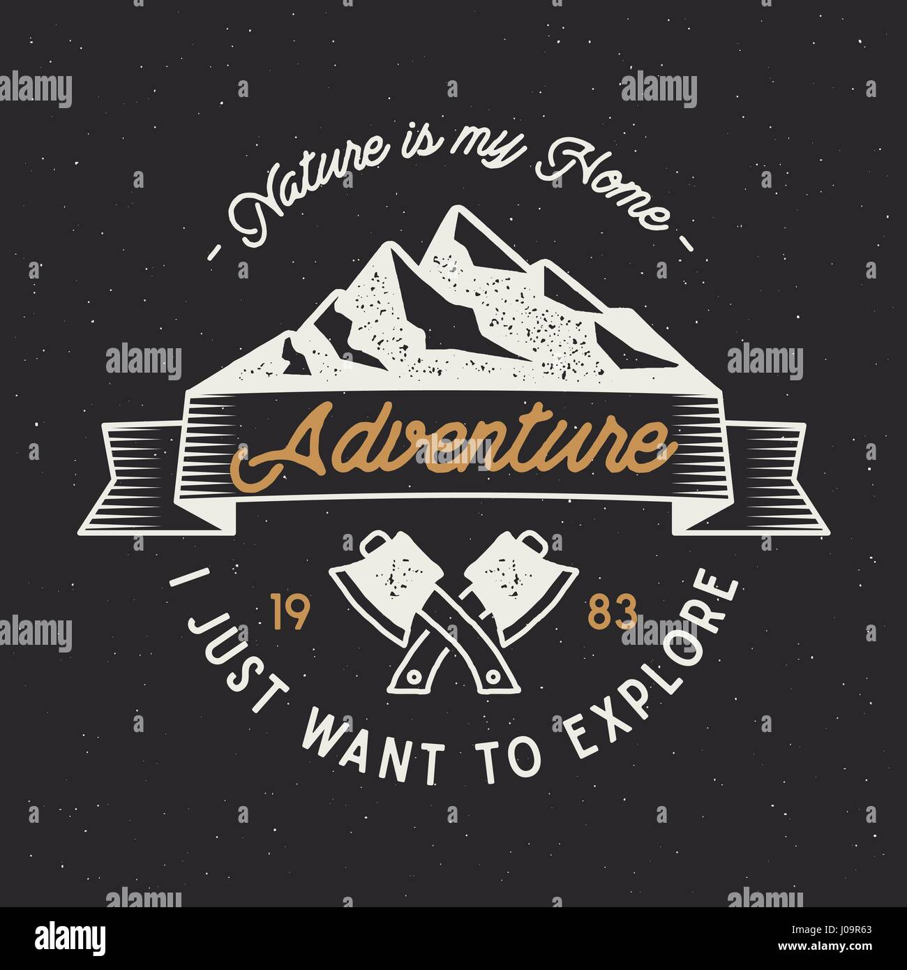 Vintage adventure label. Mountain expedition emblem with crossed axes and typography design 'nature is my home'. - Stock Vector
