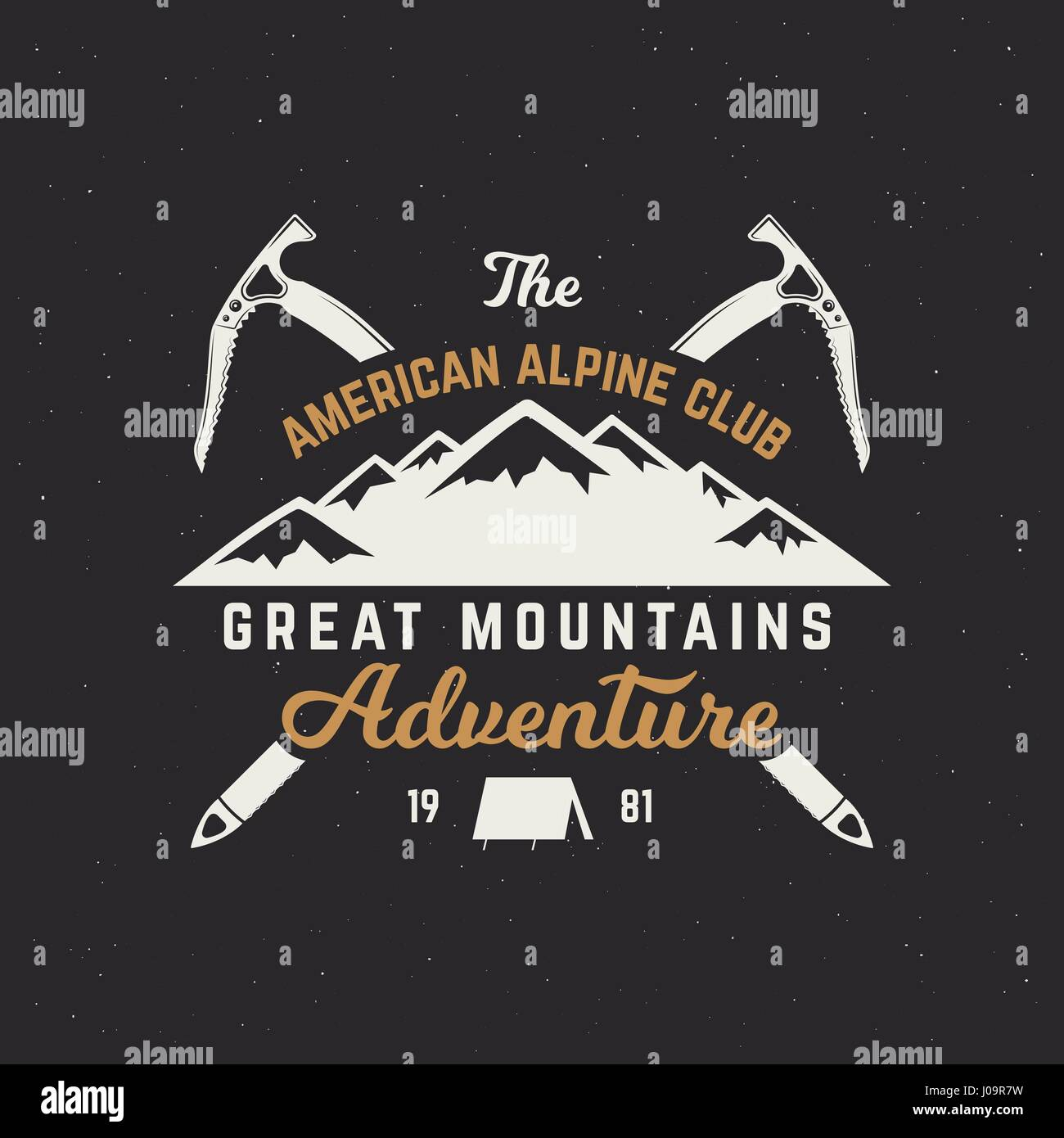 Vintage hand crafted label. Mountain expedition, outdoor adventure badge with climbing symbols and typography design. - Stock Vector