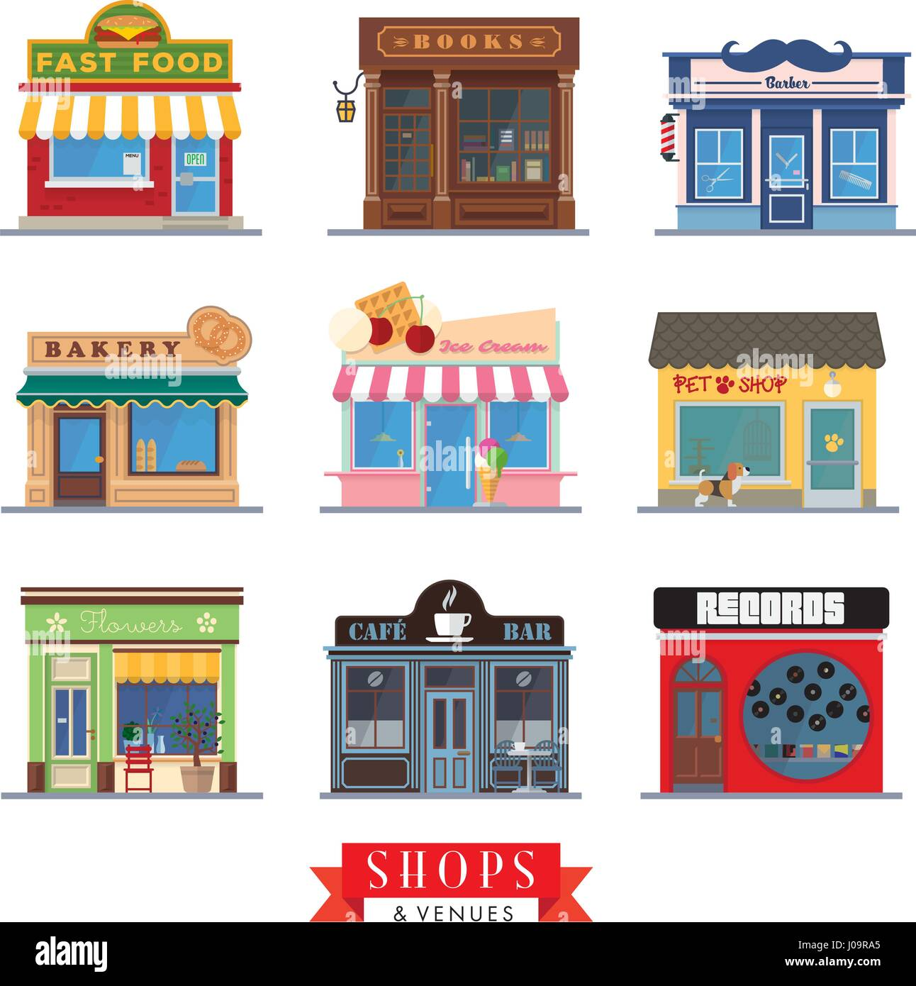 Set of 9 flat design shops and venues vector icons Stock Vector