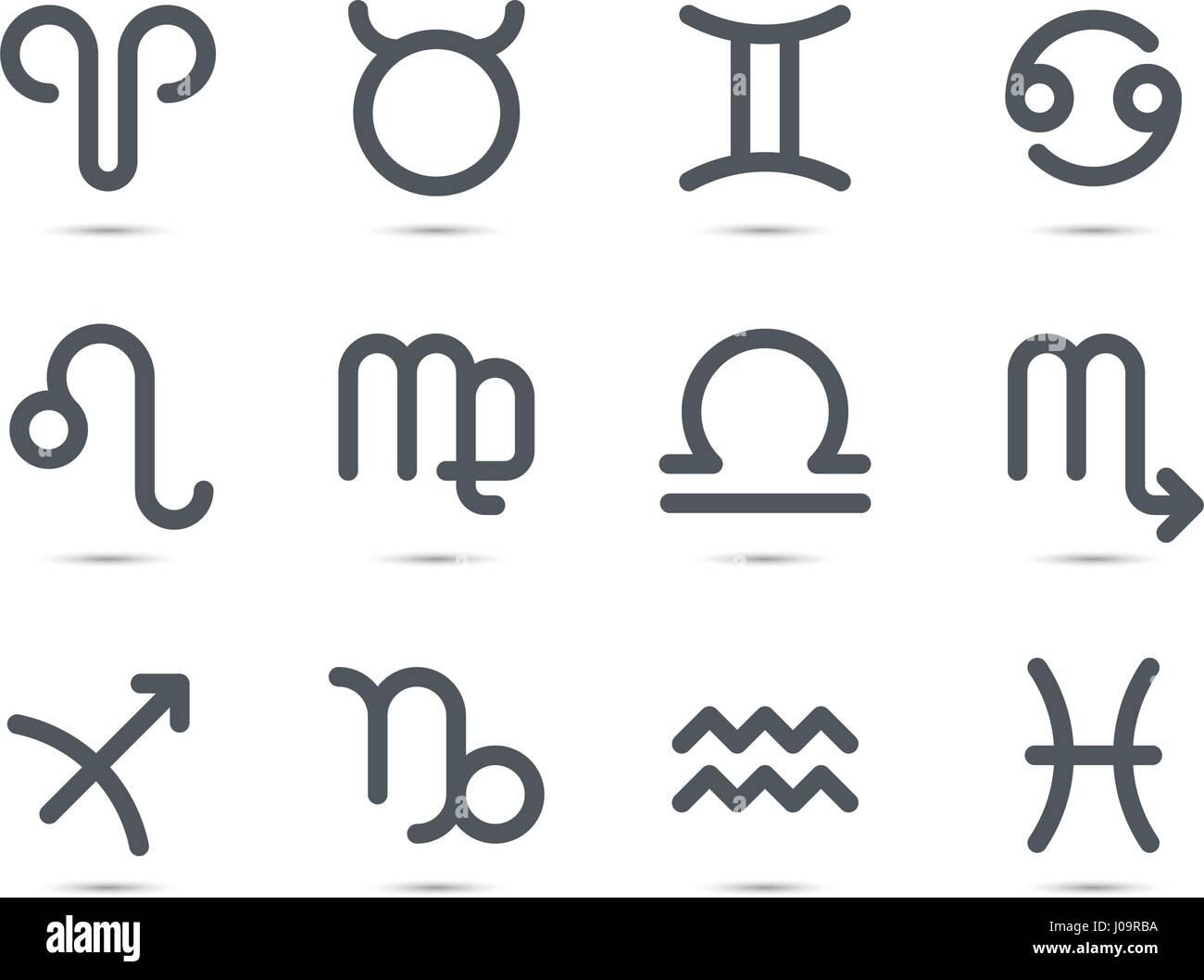 set of flat geometric zodiac symbols with shadow on white background