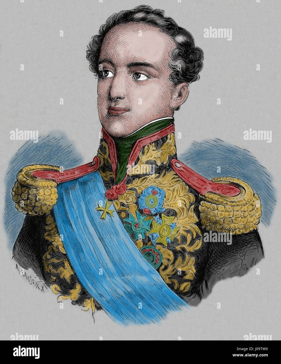 Miguel I of Portugal (1802-1866). The Absolutist. King between 1828-1834. Engraving, Nuestro Siglo 1883. - Stock Image