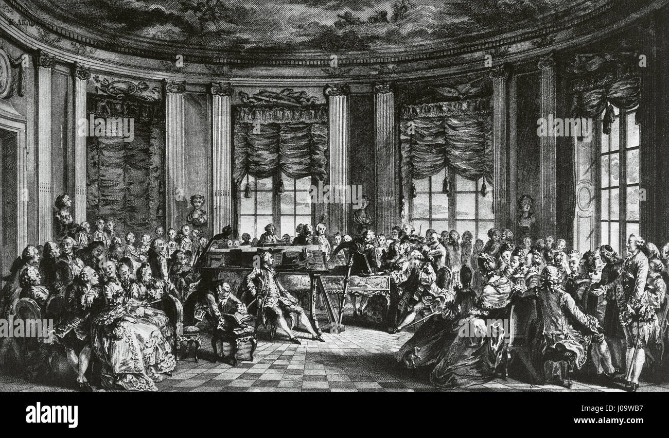 The concert at the house of the Countess of Saint Brisson. Engraving by L. Prevost before a painting of Augustin - Stock Image