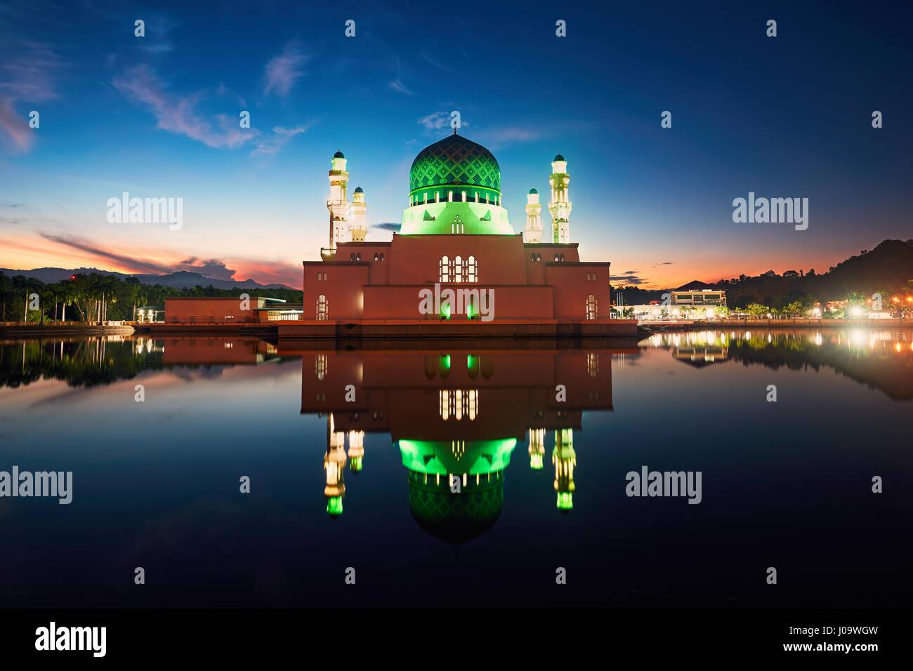Reflection of Kota Kinabalu City Mosque, Island of Borneo, Malaysia Stock Photo