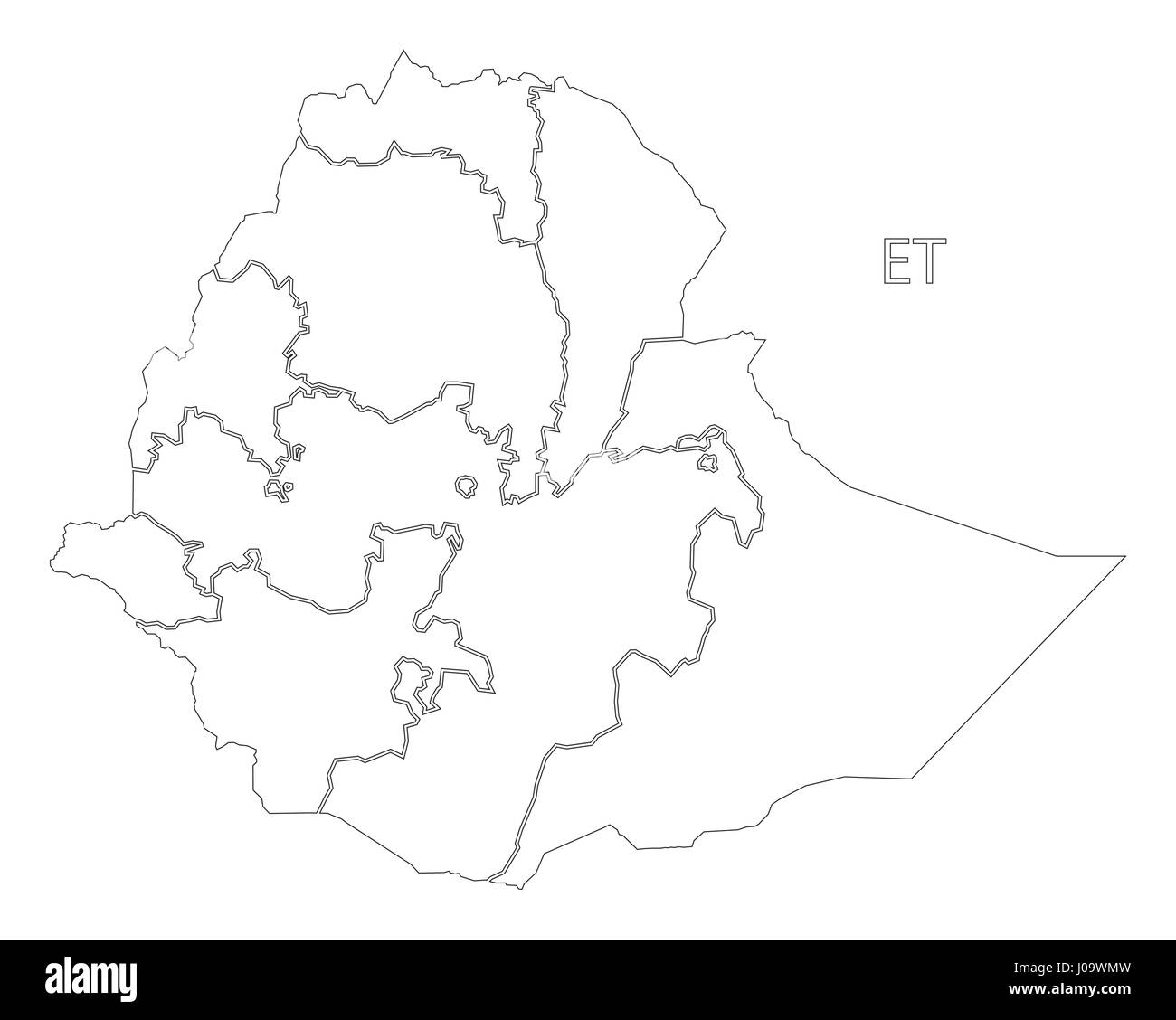 Ethiopia outline silhouette map illustration with regions