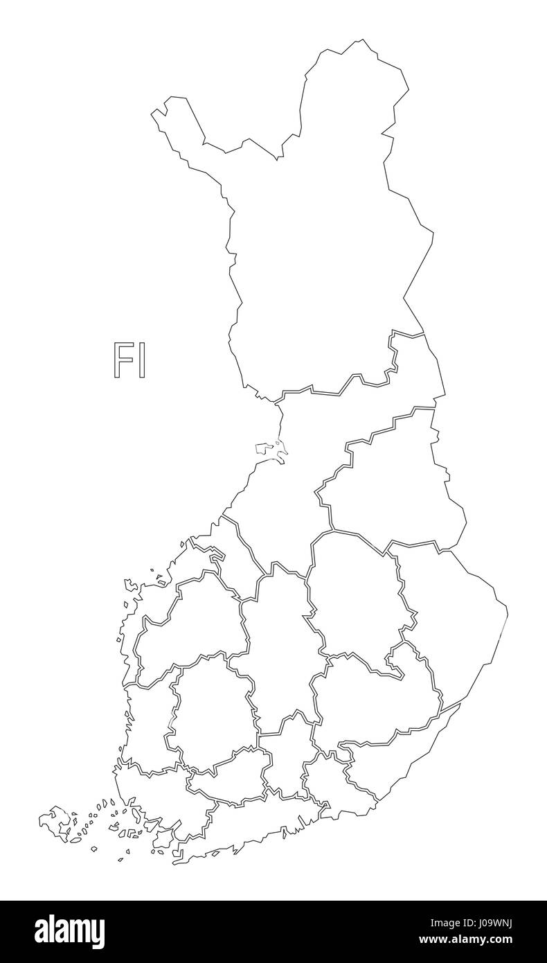 Finland outline silhouette map illustration with regions ...