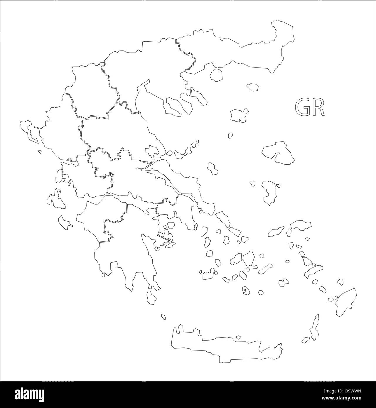 Picture of: Greece Outline Silhouette Map Illustration With Regions Stock Vector Image Art Alamy