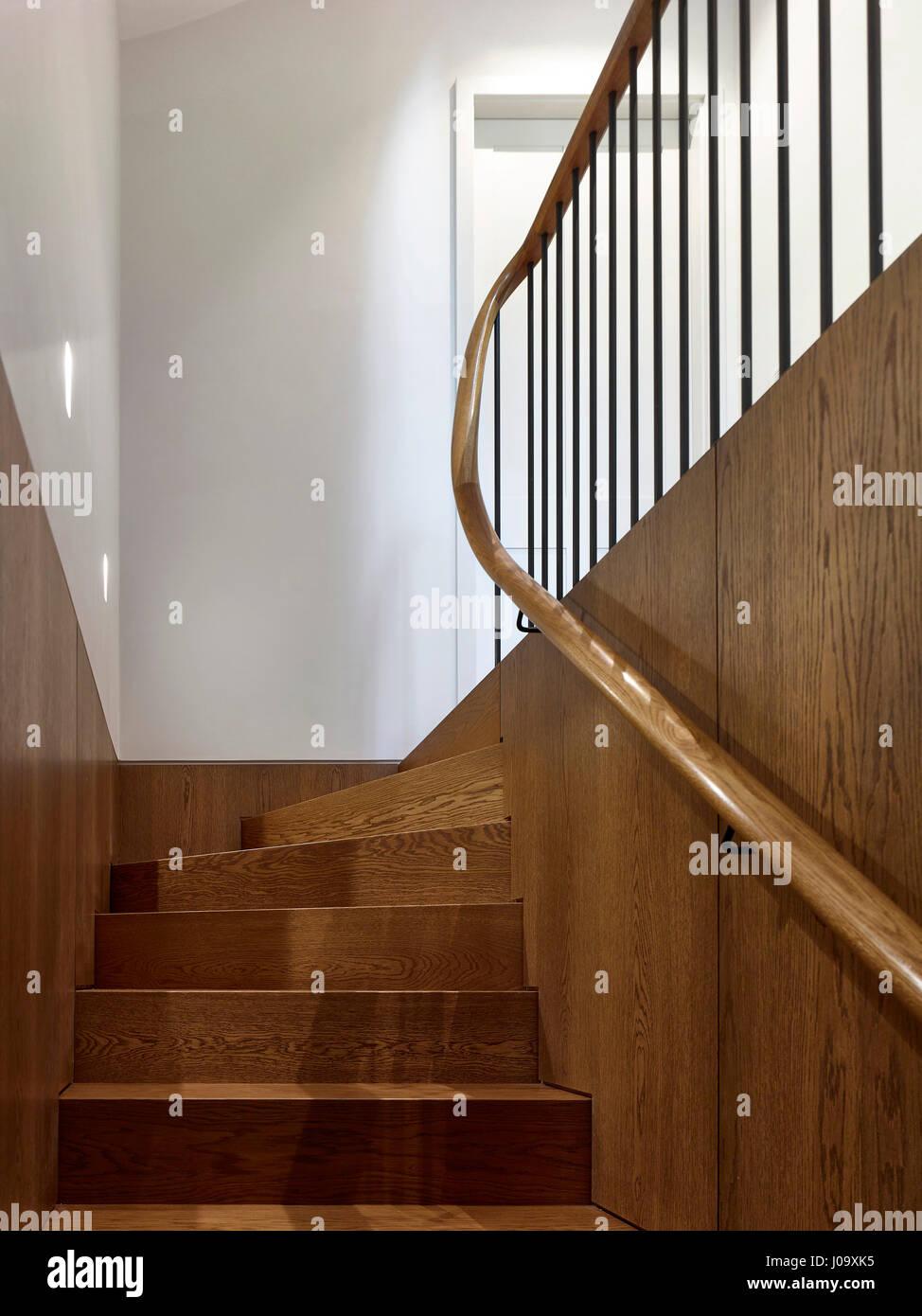 Stair. Hampstead Ponds House, London, United Kingdom. Architect: Stiff + Trevillion Architects, 2016. - Stock Image