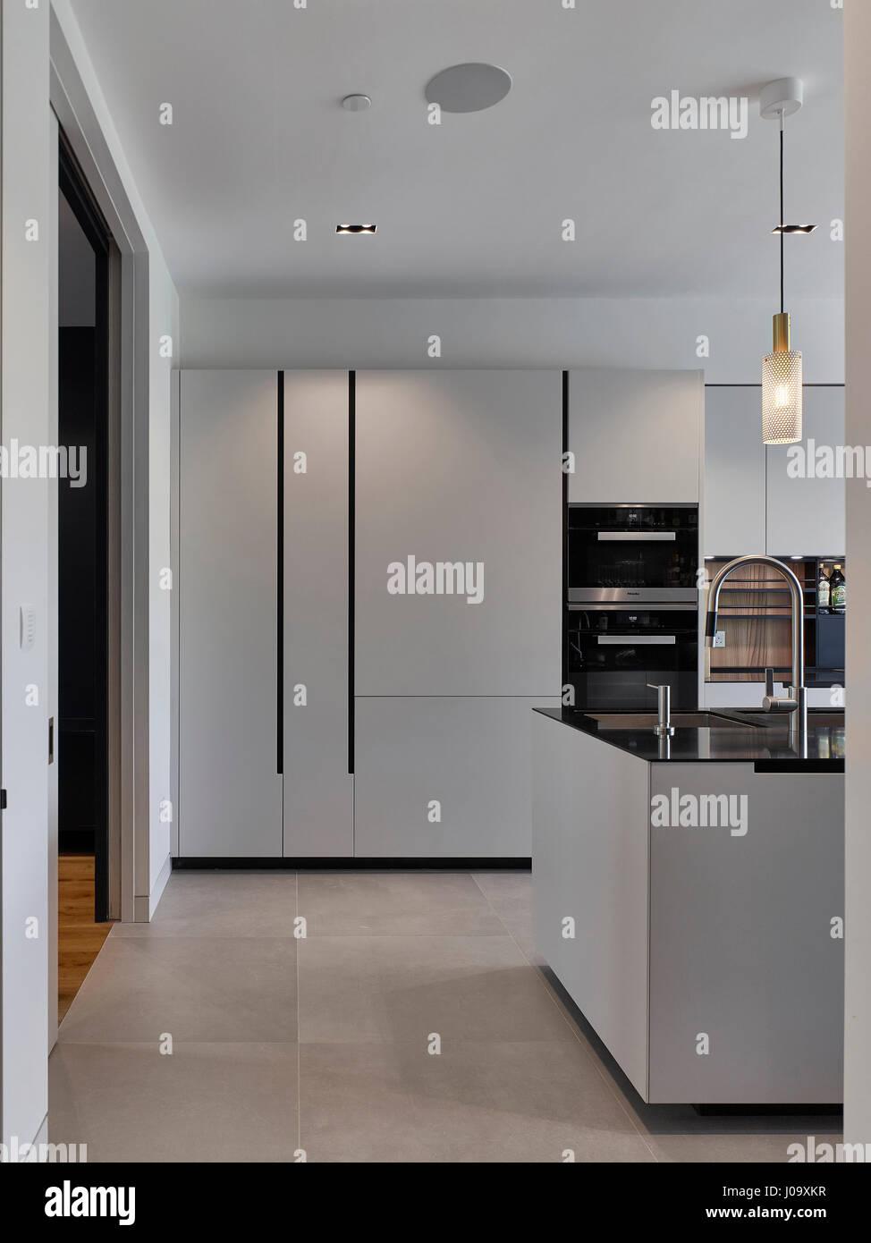 Kitchen. Hampstead Ponds House, London, United Kingdom. Architect: Stiff + Trevillion Architects, 2016. - Stock Image