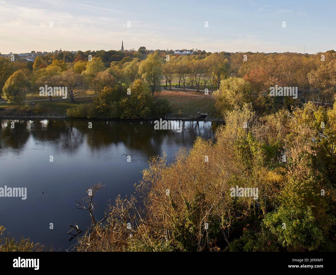 View. Hampstead Ponds House, London, United Kingdom. Architect: Stiff + Trevillion Architects, 2016. - Stock Image