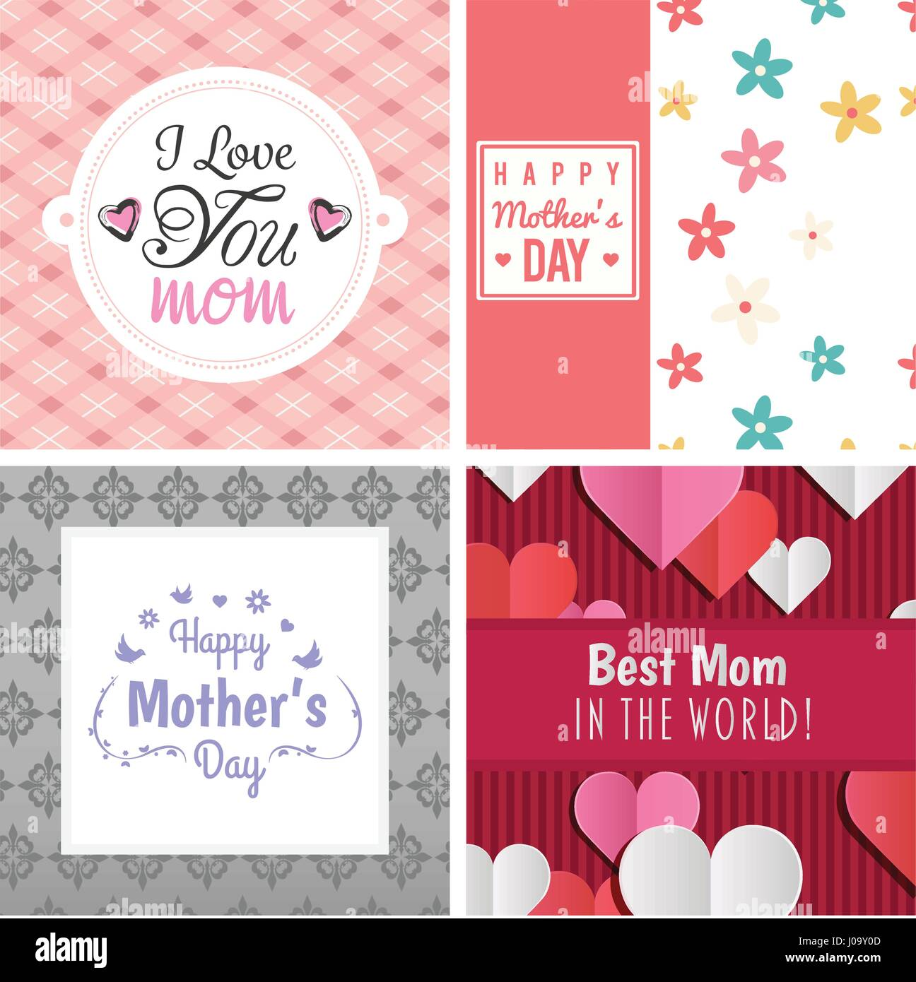 Vector Set Of Greeting Cards With Mothers Day Message Stock Vector