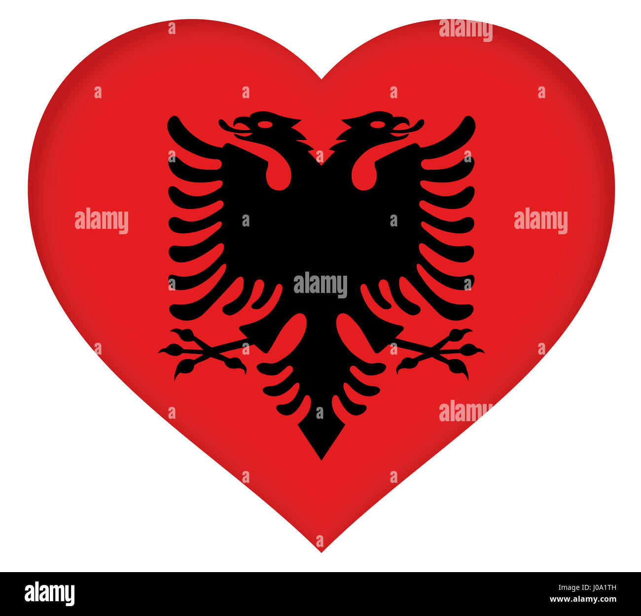 Flag of Albania Heart by Roy Pedersen.                     www.roypedersenphotography.com                       - Stock Image