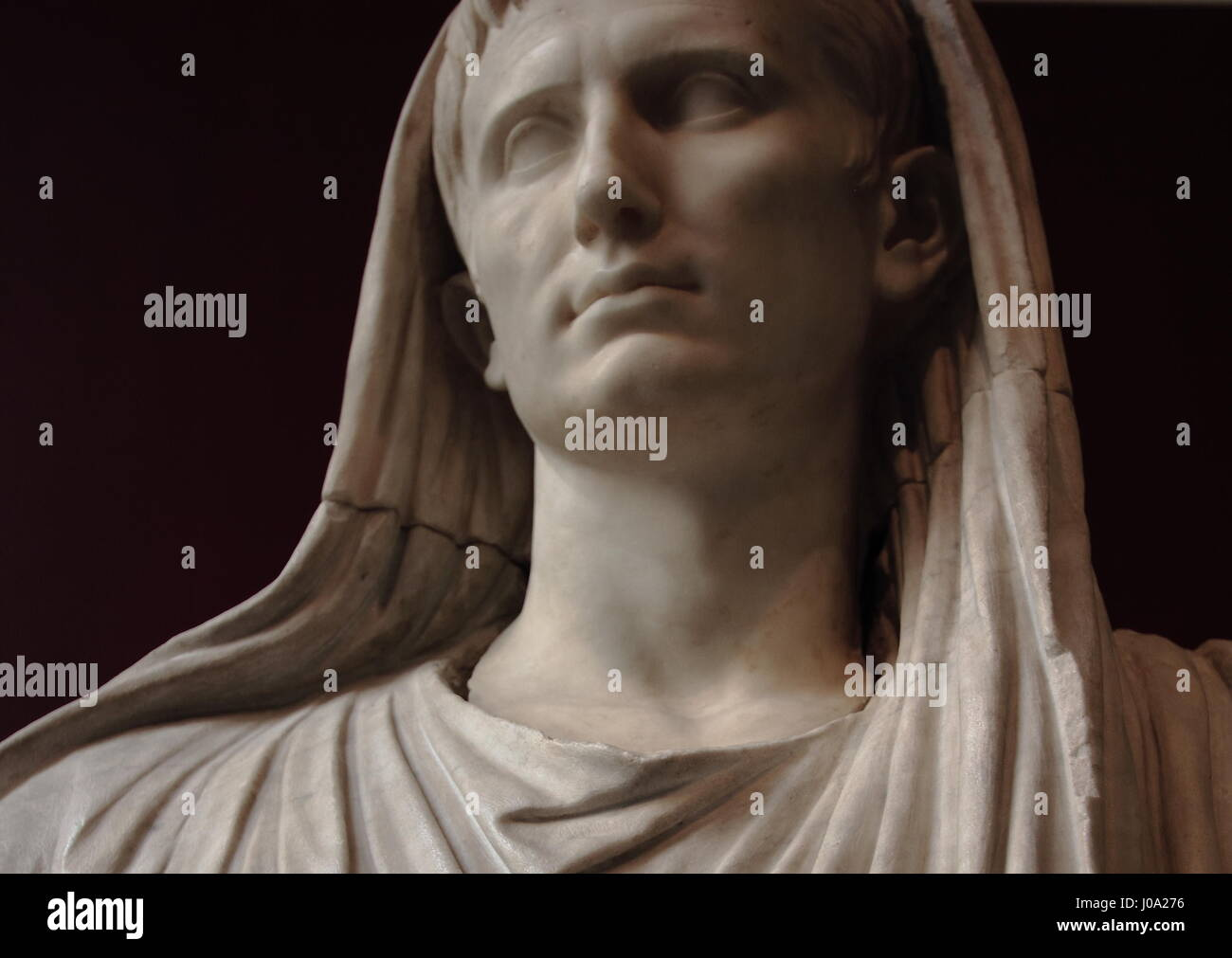 Detail of a statue of Augustus as Pontifex Maximus on display at the National Roman Museum (Palazzo Massimo) Stock Photo