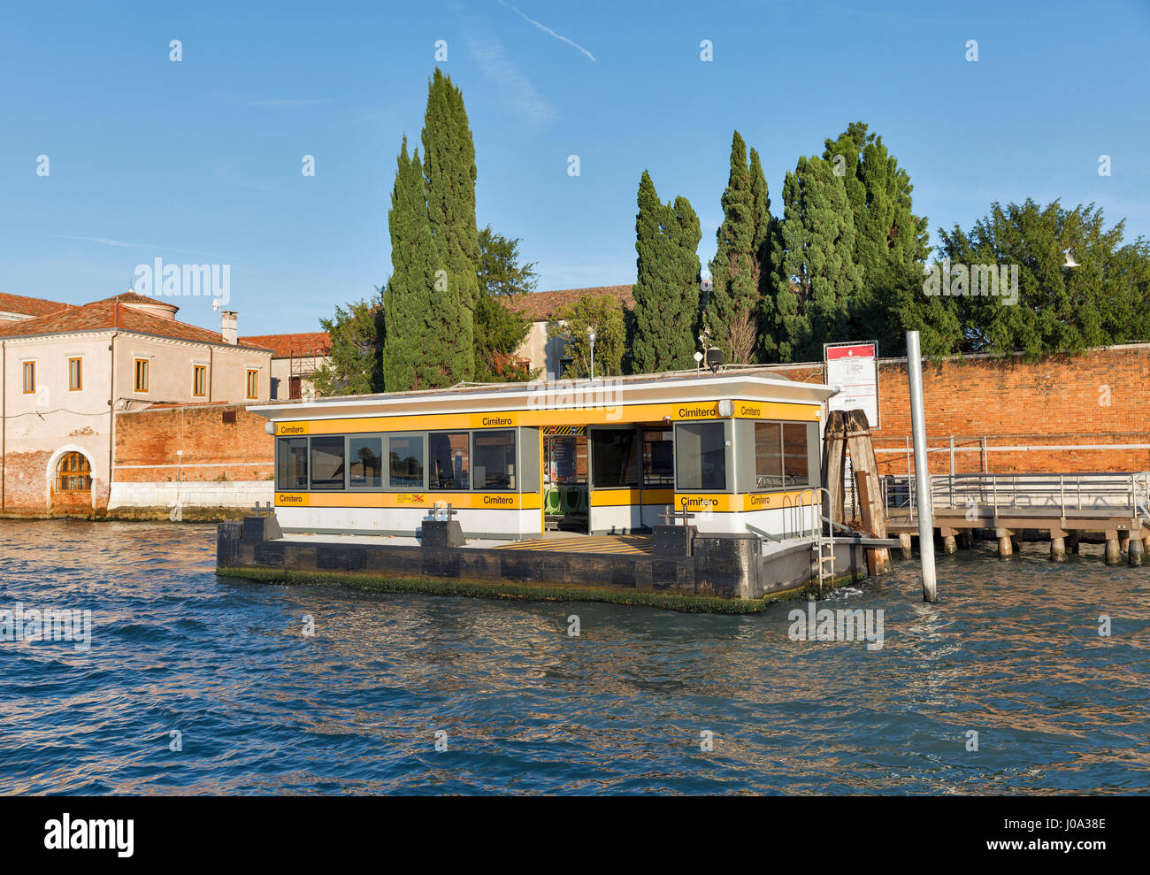 VENICE, ITALY - SEPTEMBER 22, 2016: Cemetery water bus station on San Michele cemetery island. Venice is situated - Stock Image