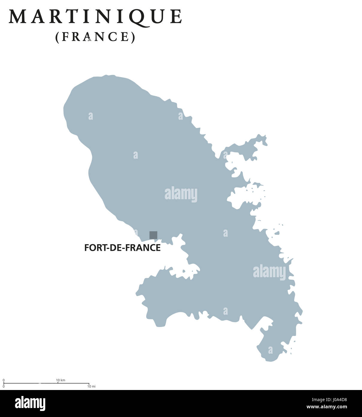 Martinique Political Map With Capital Fort De France. Caribbean Islands And  Overseas Region