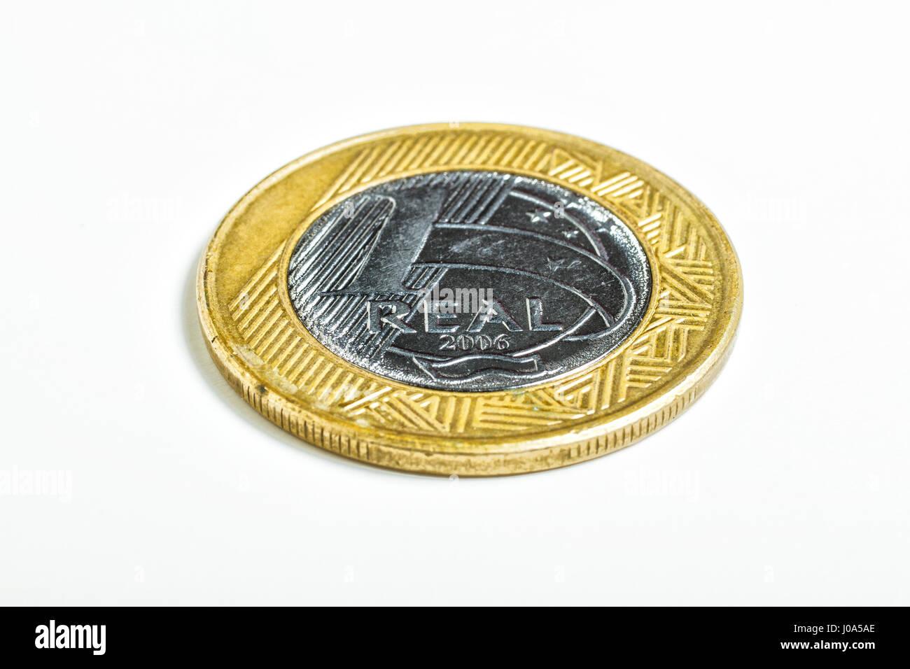 Brazilian real coin. - Stock Image