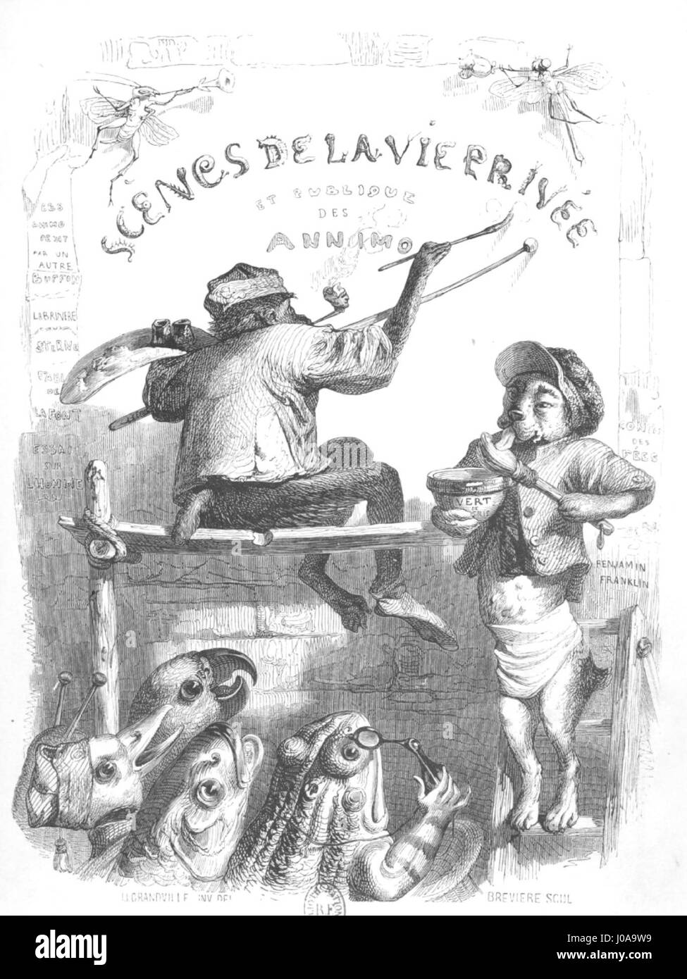 Scènes de la vie privée et publique des animaux, tome 1 0026 - Stock Image