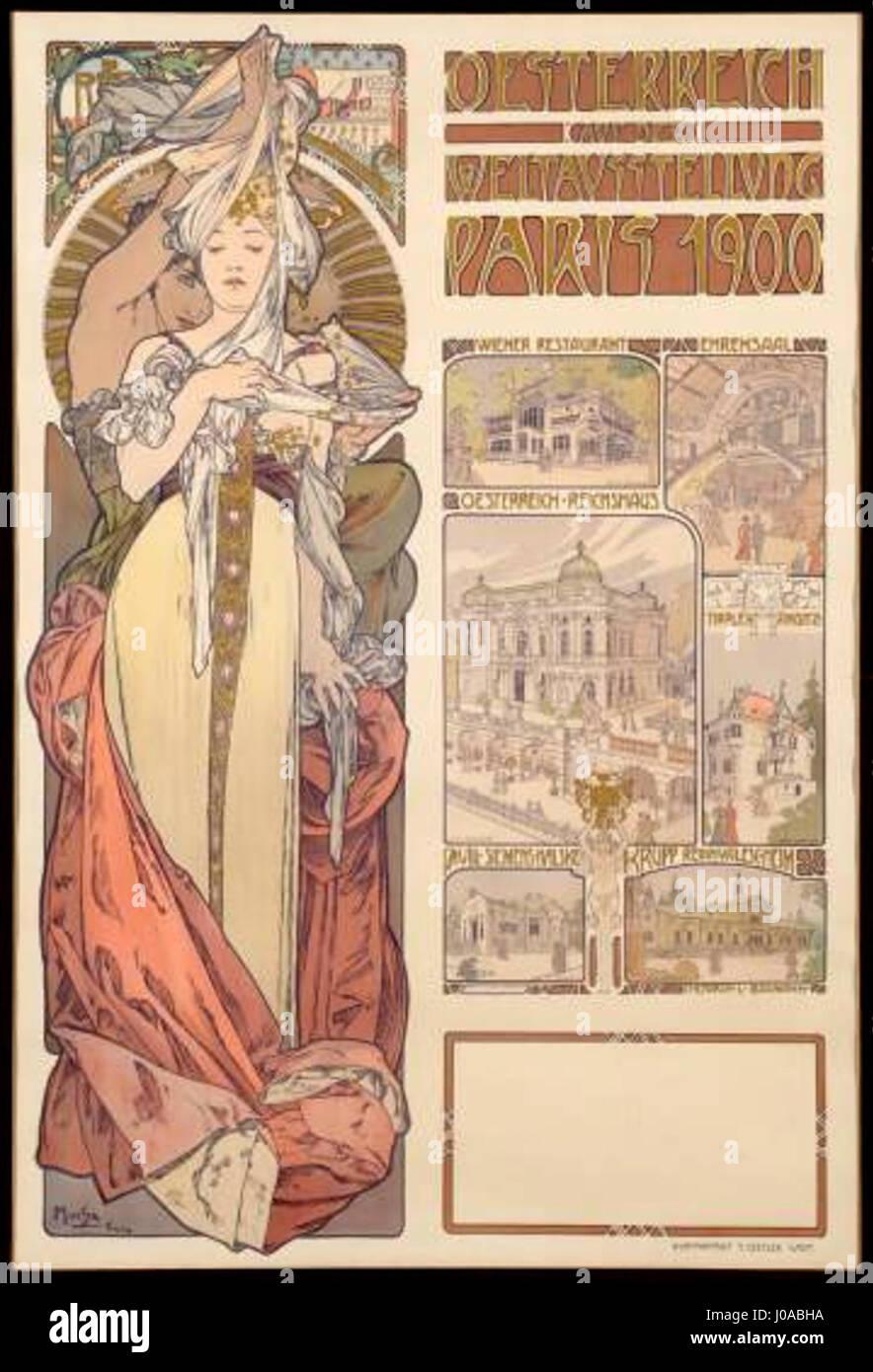 Plakat Mucha Österreich Paris 1900 - Stock Image
