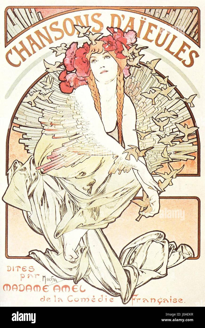 Chansons dE28099aieules Mucha 1898 - Stock Image