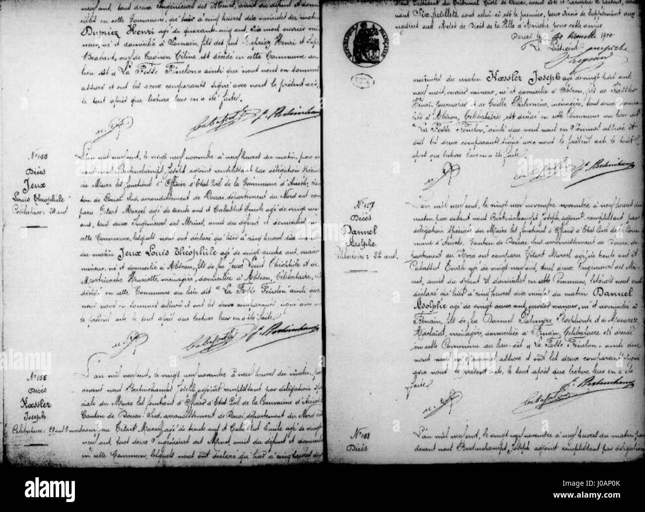 Aniche - Actes de décés décembre 1900 de 154 à 158 Dupriez henri -Jeux Louis - Koesler Joseph - Stock Image