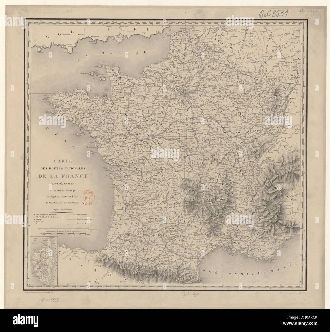 Carte Des Routes Nationales De La France Dressée En 1824 Et