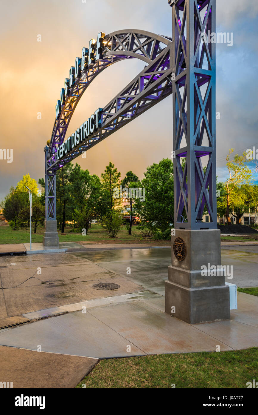 Gateway arch at Muskogee, Oklahoma's Depot District, home of the Oklahoma Music Hall of Fame. (USA) Stock Photo