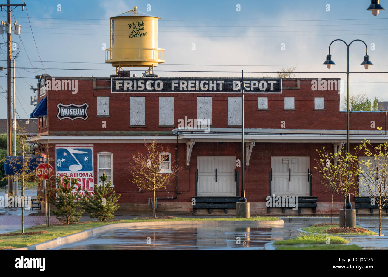 Frisco Freight Depot in Muskogee, Oklahoma, home of the Oklahoma Music Hall of Fame. (USA) Stock Photo