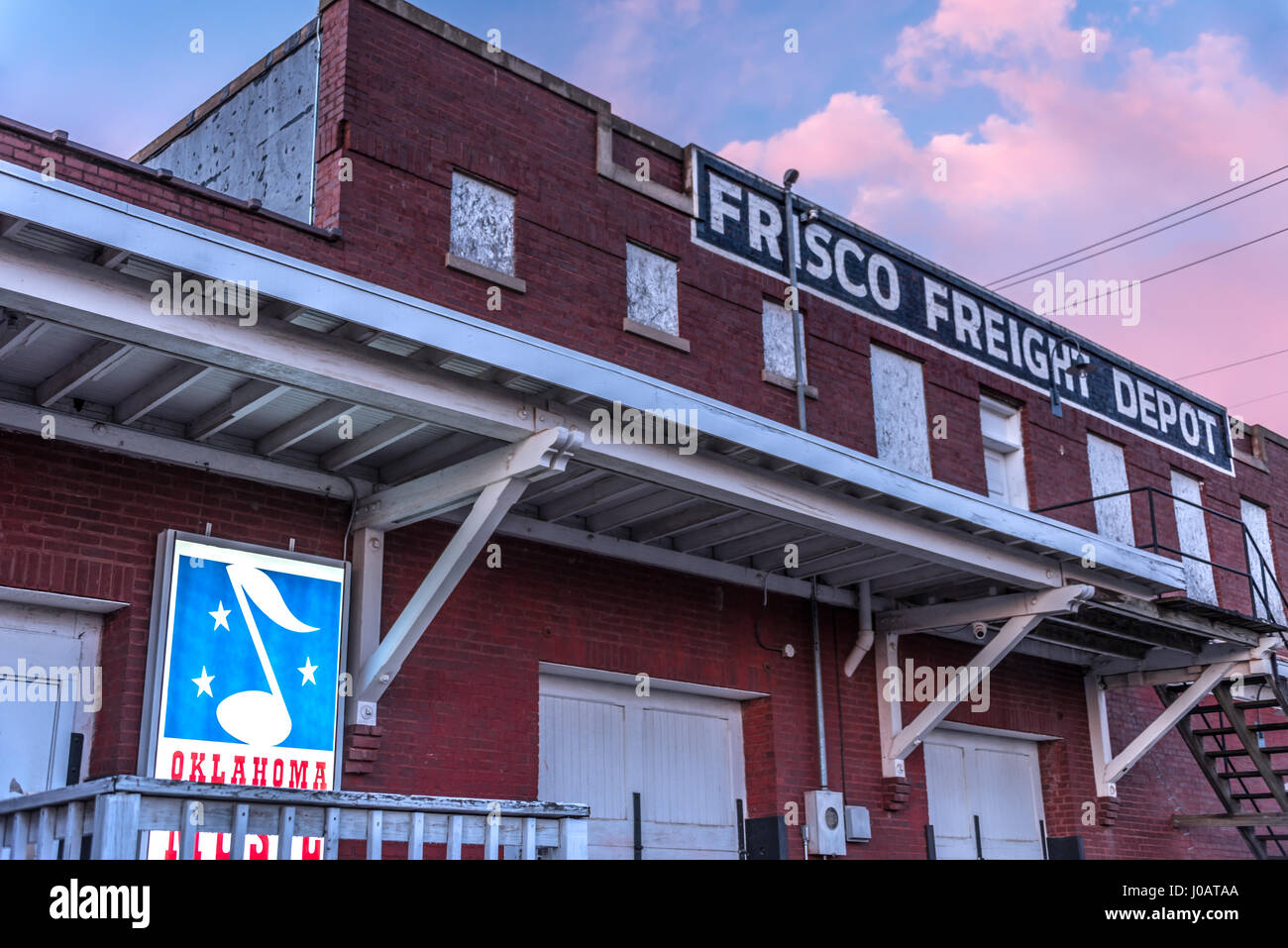 Muskogee, Oklahoma's Frisco Freight Depot, home of the Oklahoma Music Hall of Fame. (USA) Stock Photo