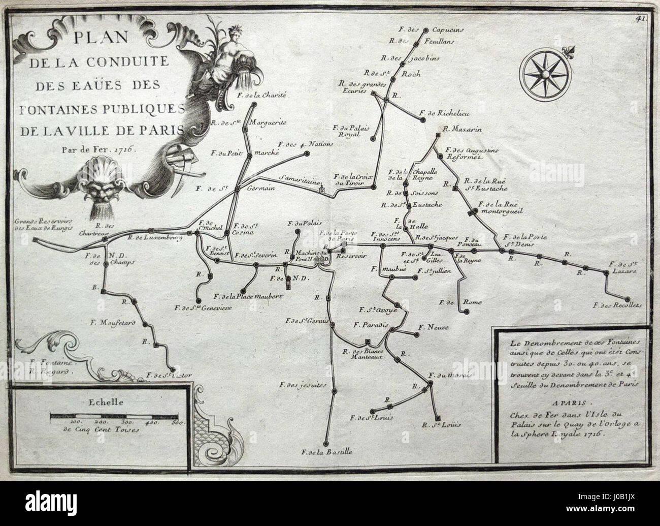 Plan du réseau d'adduction de l'eau publique à Paris au XVIIIe siècle - Stock Image