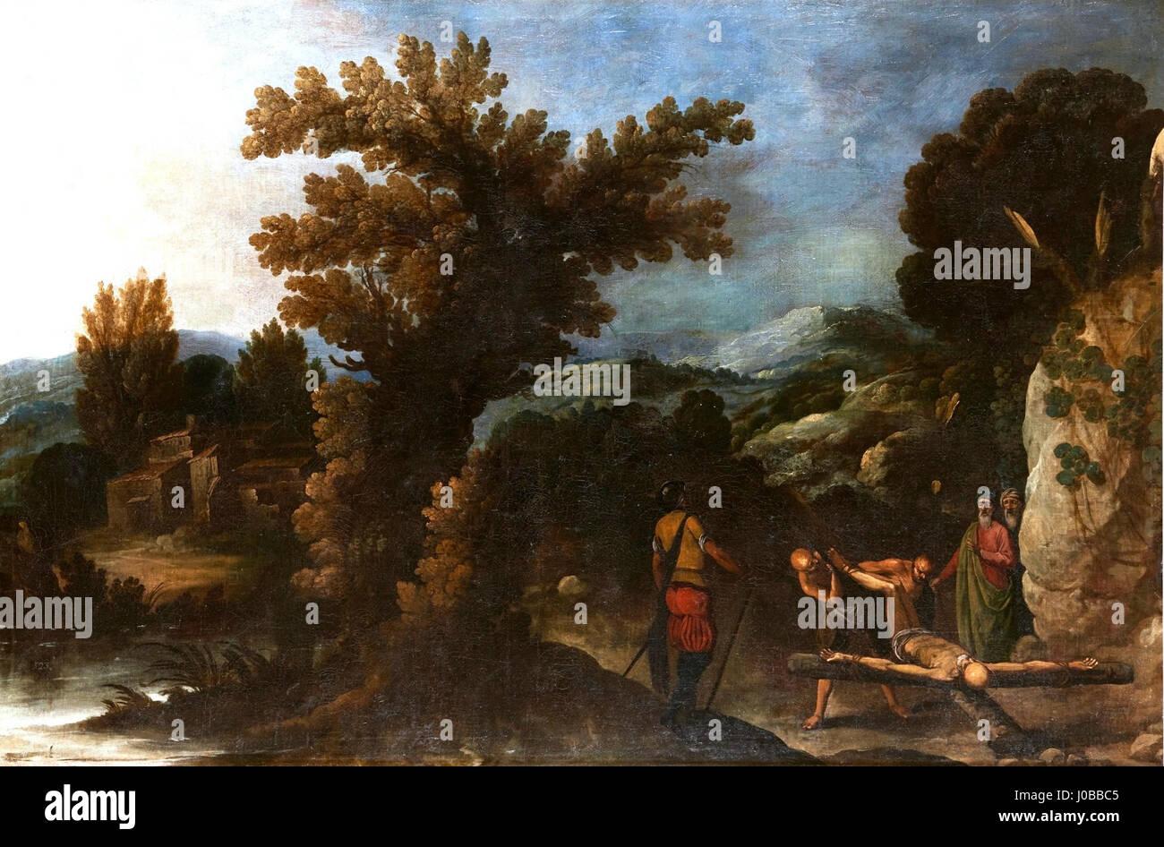 Paisaje con la crucifixión de San Pedro, de Francisco Collantes (Museo del Prado) - Stock Image