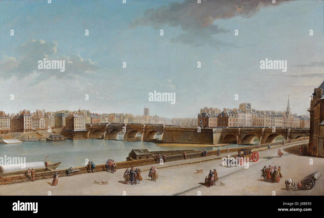Raguenet Vue de l'Ile de la Cité avec le Pont Neuf et la pompe de la Samaritaine 1752 Stock Photo