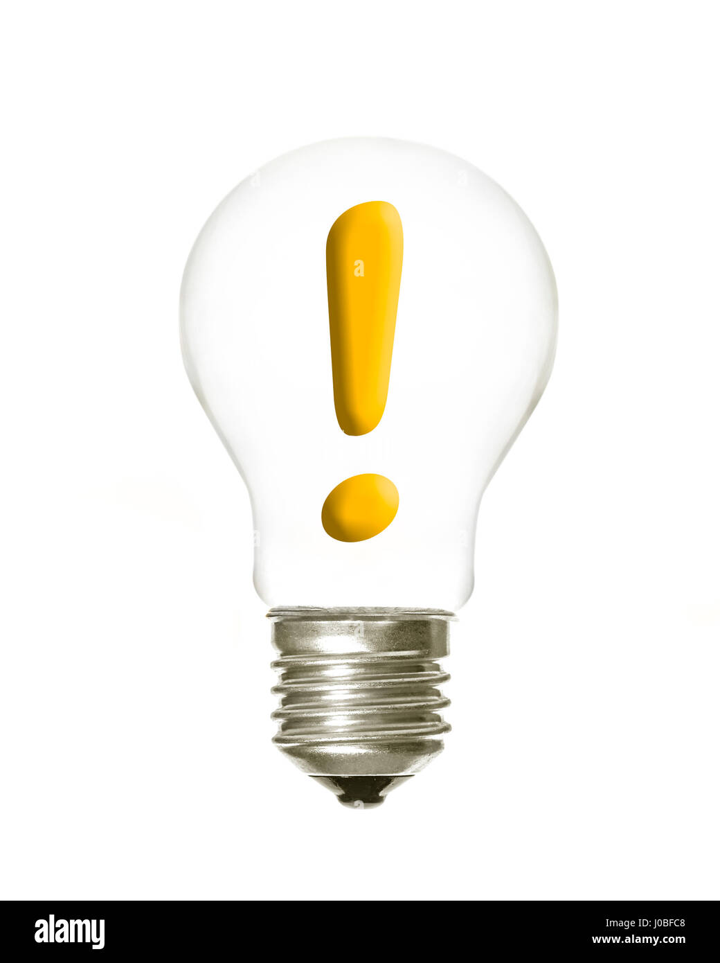 a light bulb with the exclamation symbol inside on a white background - Stock Image