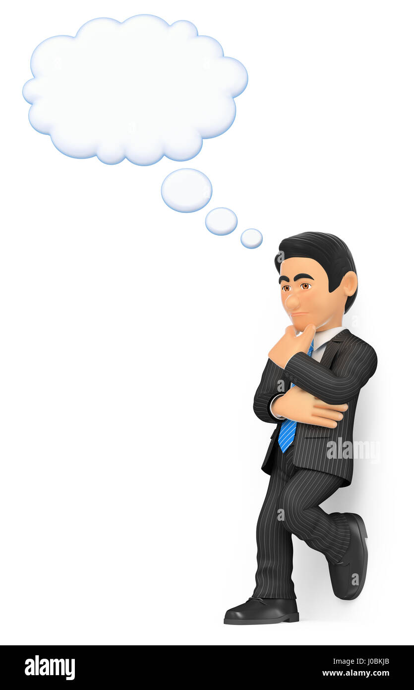 3d business people illustration. Thoughtful businessman with a thinking bubble. Isolated white background. - Stock Image