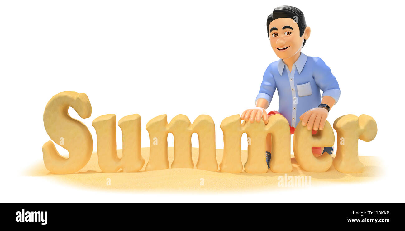 3d young people illustration. Man in shorts making the word summer with beach sand. Isolated white background. - Stock Image