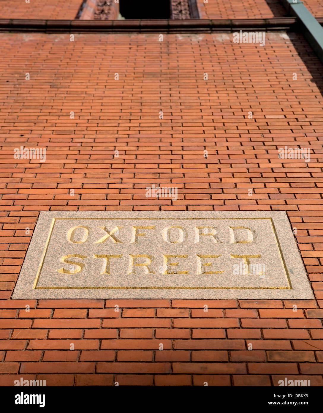 Oxford Street Stone Road Sign, Manchester - Stock Image
