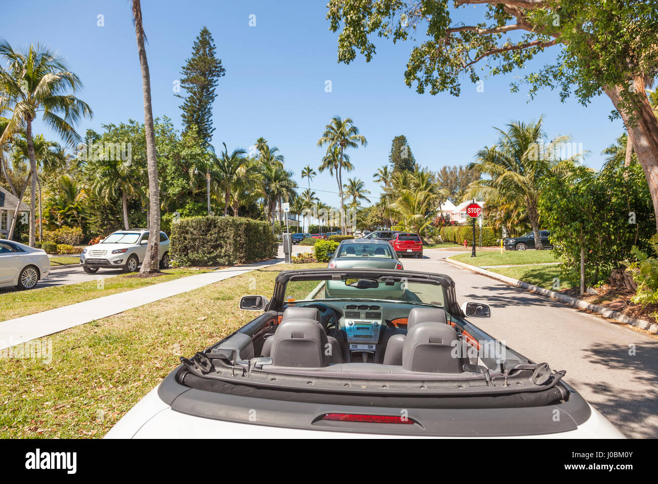 Luxury convertible car parked in the city of Naples. Florida, United States - Stock Image
