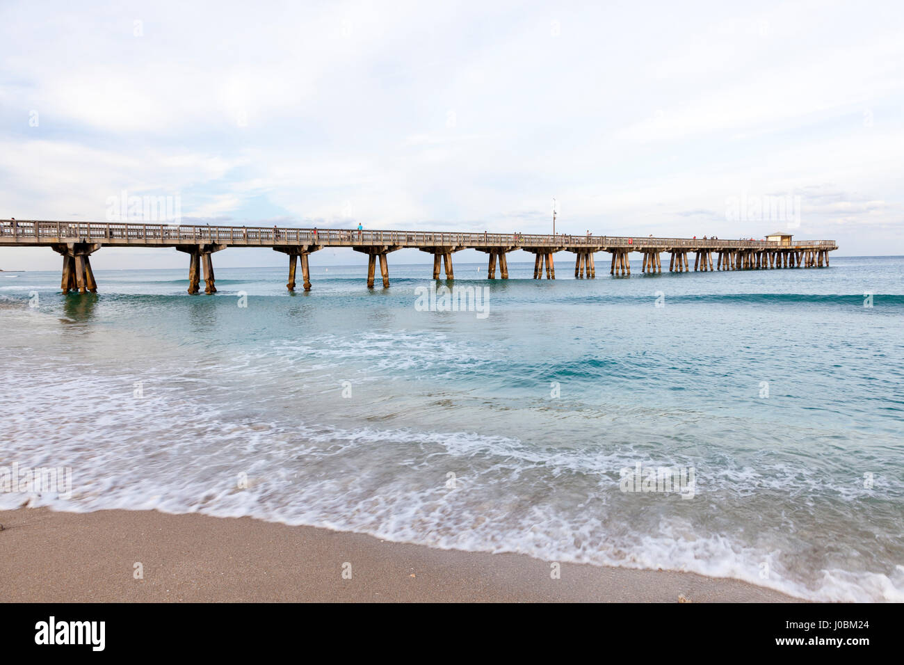 Pompano Beach fishing pier on the Atlantic Ocean coast in Florida, United States - Stock Image
