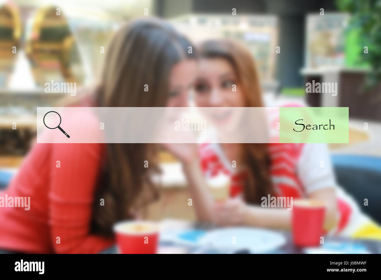search bar on blurred background shopping young girls Stock Photo
