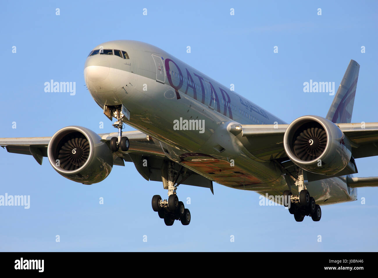 A7-BBF Qatar Airways Boeing 777-200 cn 36018 / 842 cargo aircraft arriving at London Heathrow airport - Stock Image