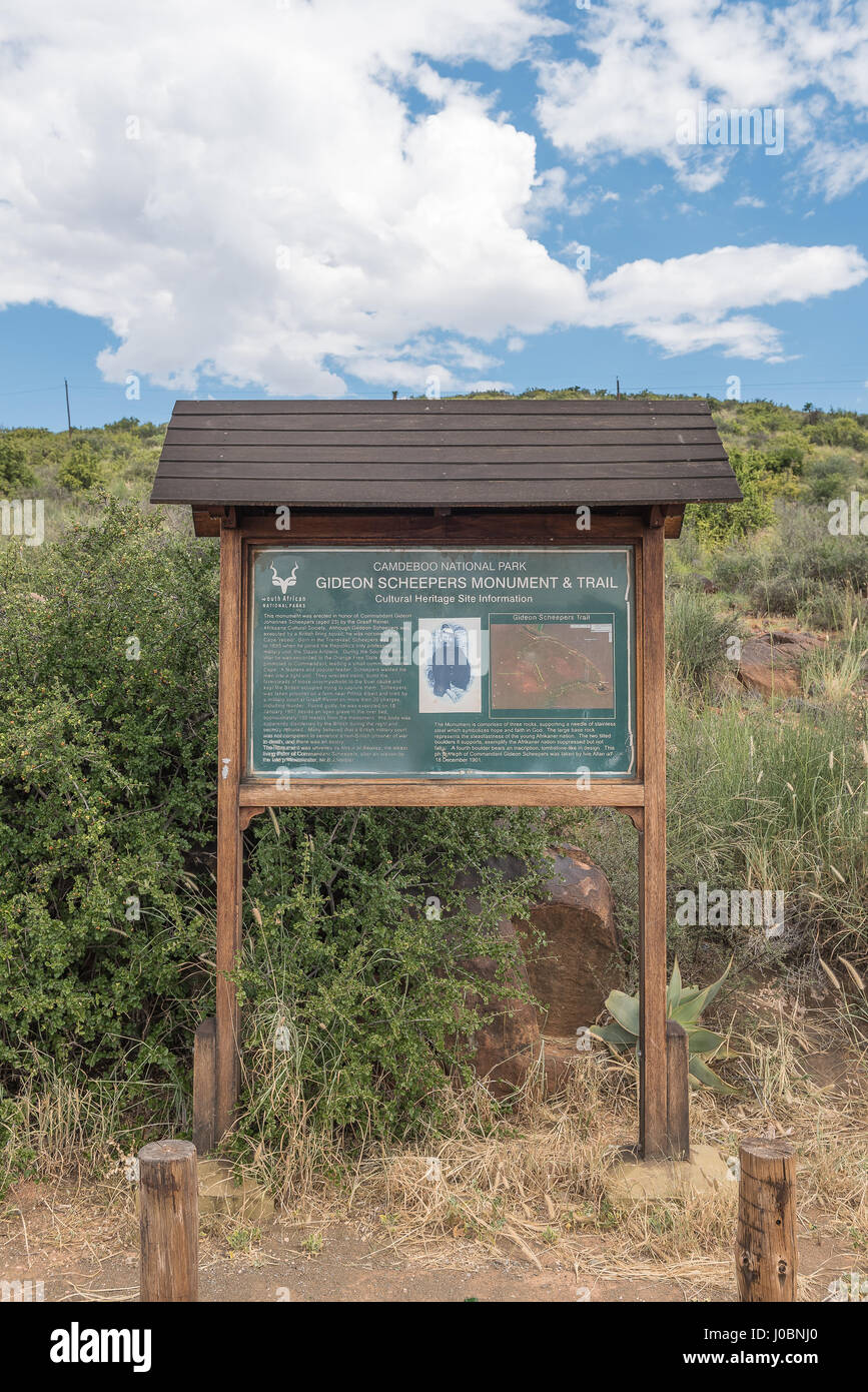 GRAAFF REINET, SOUTH AFRICA - MARCH 22, 2017: The information board next to the Gideon Scheepers monument near Graaff - Stock Image