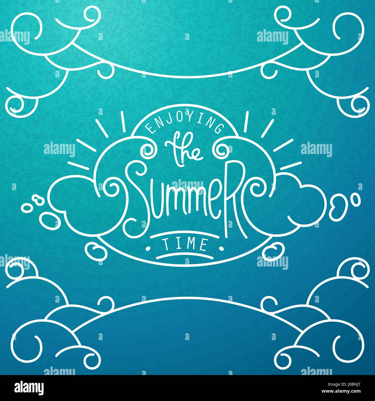 Enjoying the Summer time. Hand drawn lineart composition and lettering for decoration.  Stylized sky with clouds. - Stock Image
