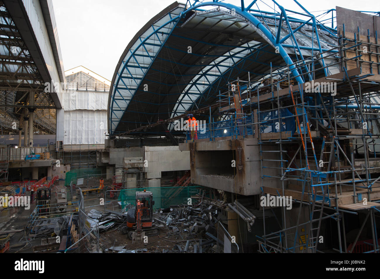 Former Eurostar terminal at London Waterloo station gets an £800m redevelopment at Britain's busiest station - Stock Image