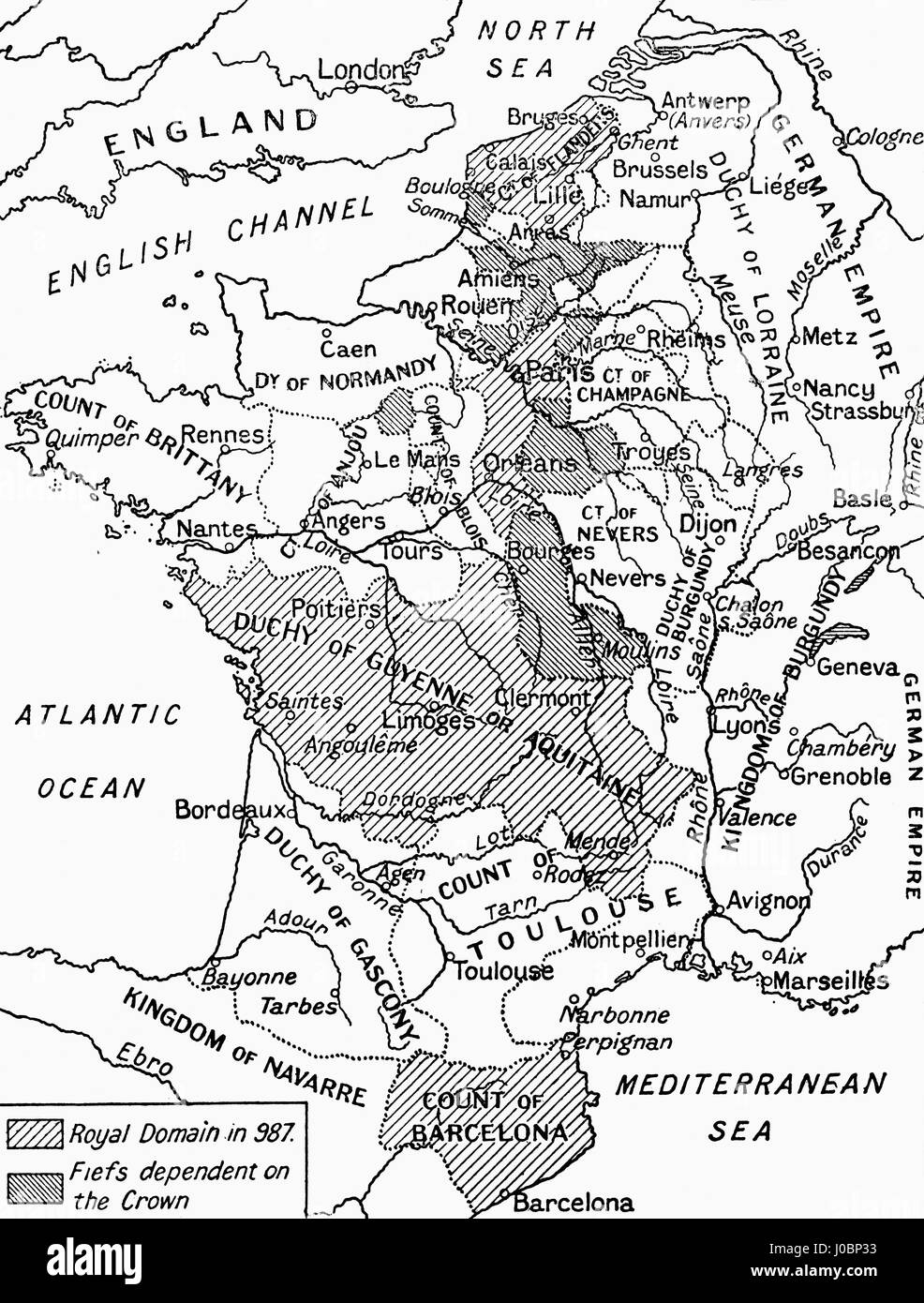 A map of feudal France in 987.  From Hutchinson's History of the Nations, published 1915. - Stock Image