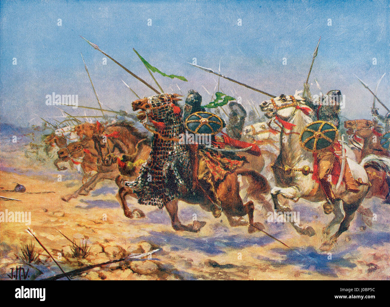 The charge of Shahrbaraz's cavalry in the 7th century.  Shahrbaraz or Shahrvaraz, died 9 June 630.  King of - Stock Image