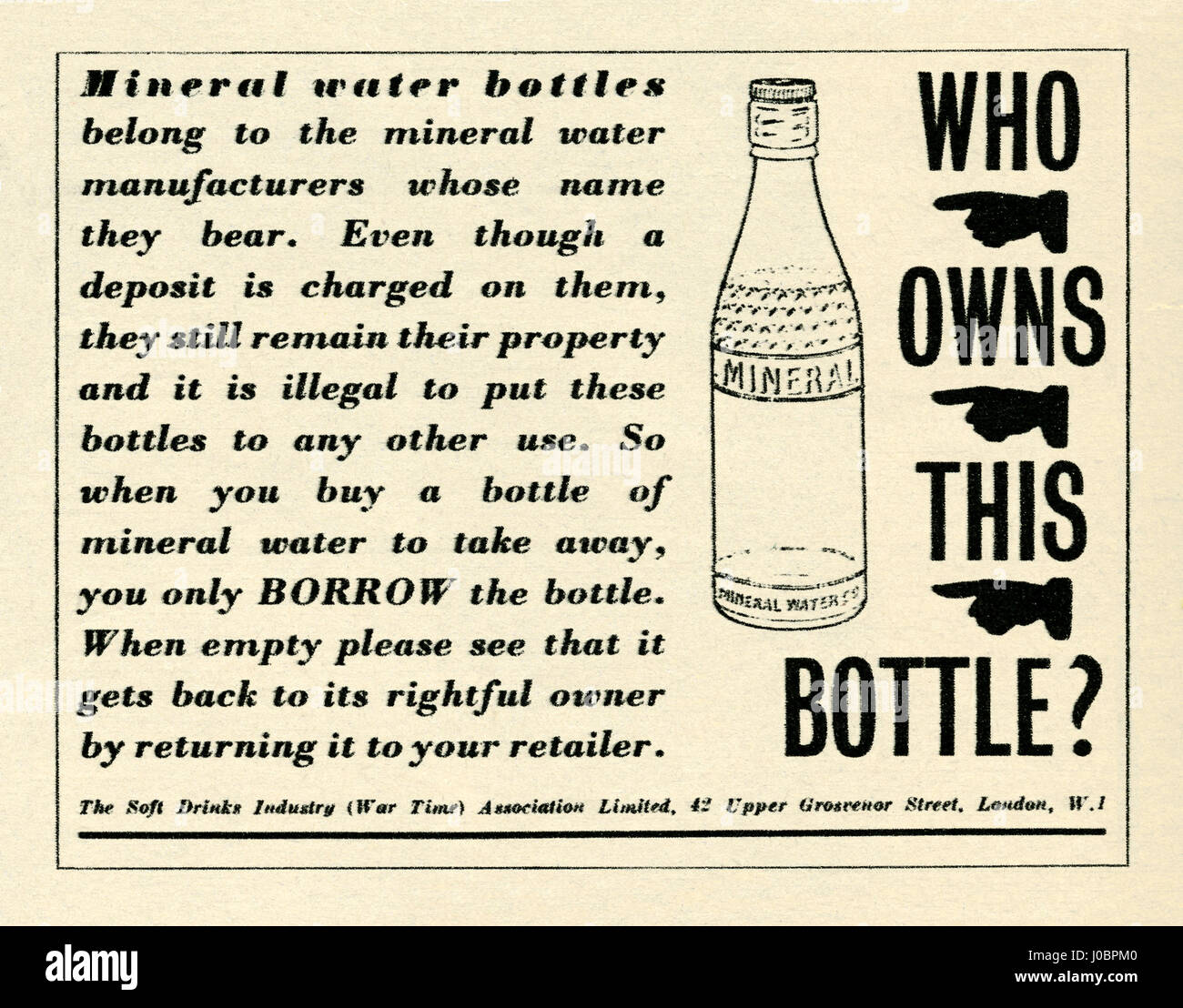 An early advert for glass bottle recycling. The advert was part of a campaign in post-war Britain to encourage re - Stock Image