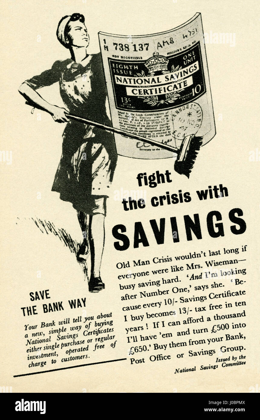 An advert for tax-free National Savings Certificates. The advert was part of a campaign in post-war Britain to encourage - Stock Image