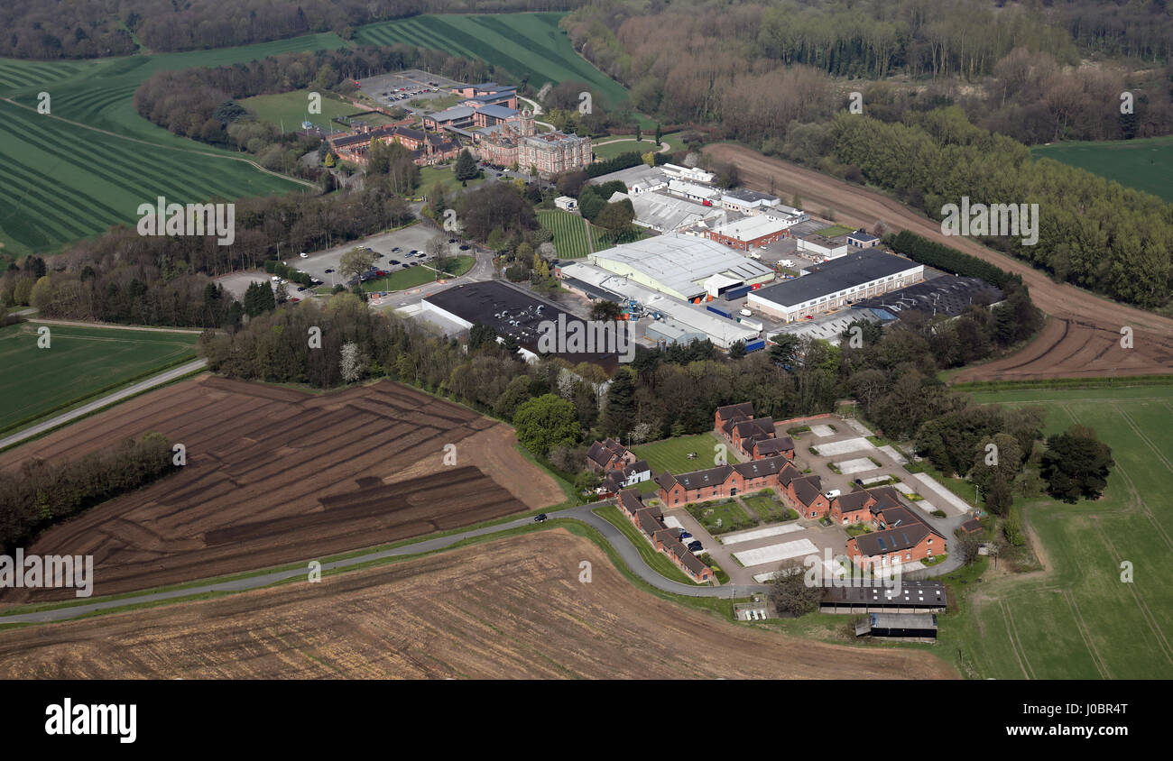 aerial view of Crew Hall Enterprise Park, Cheshire, UK - Stock Image