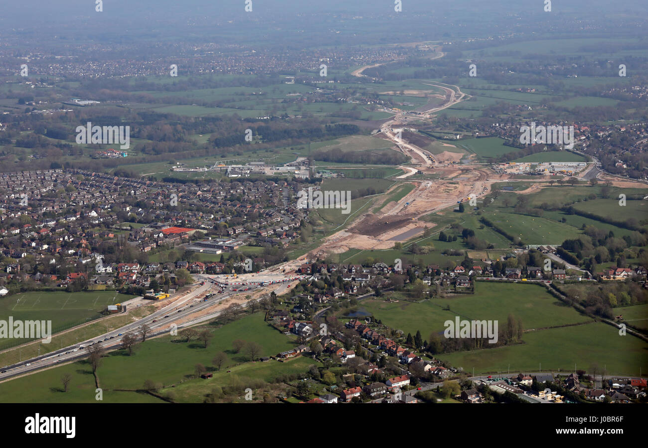 aerial view of Manchester Airport Eastern Link Road, near Handforth, Wilmslow, Cheshire, UK - Stock Image