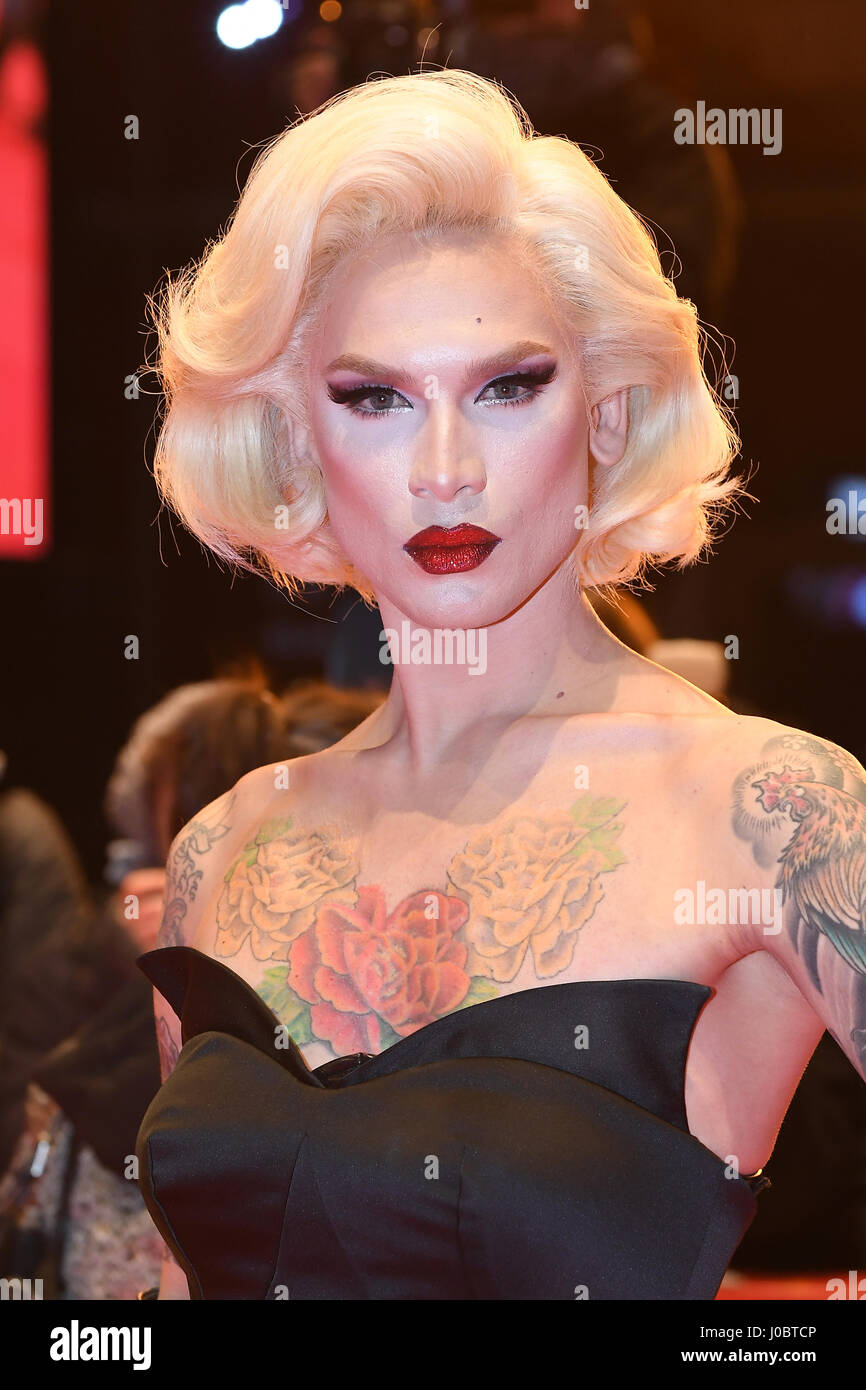 Miss Fame attends the T2 Trainspotting premiere during the 67th Berlinale International Film Festival in Berlin. - Stock Image