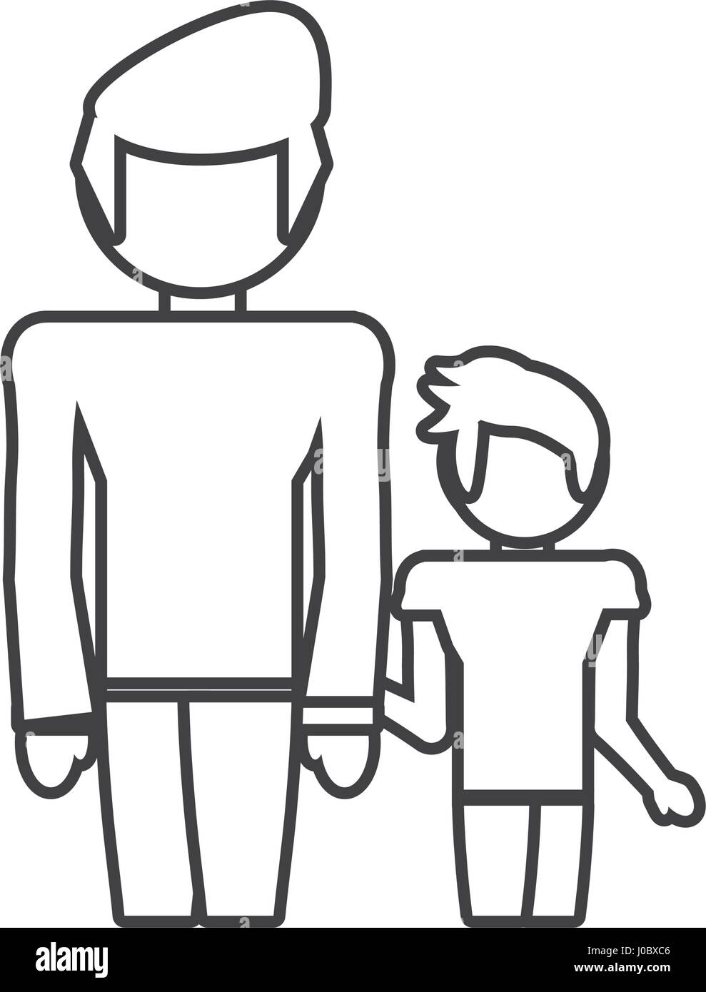 dad and son style outline - Stock Image