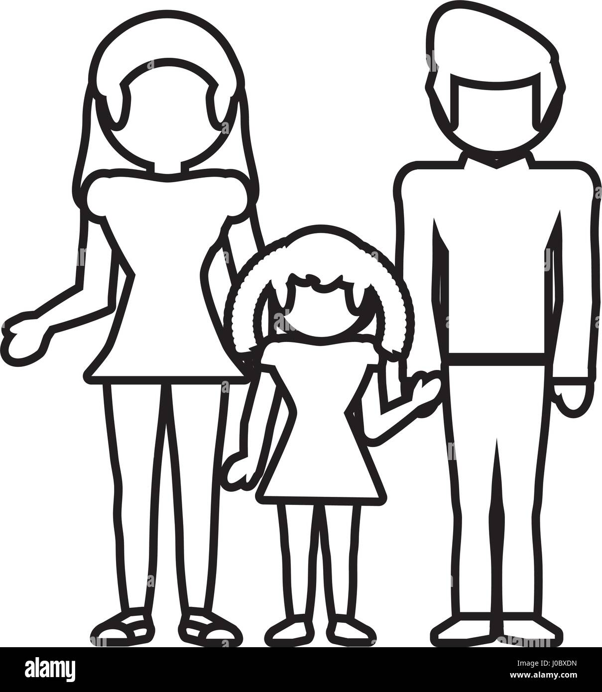 family together lovely outline - Stock Vector